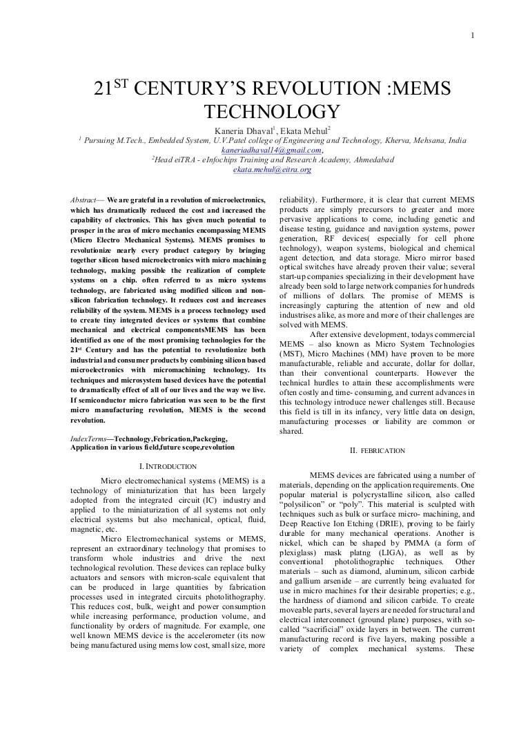 PAPER ON MEMS TECHNOLOGY