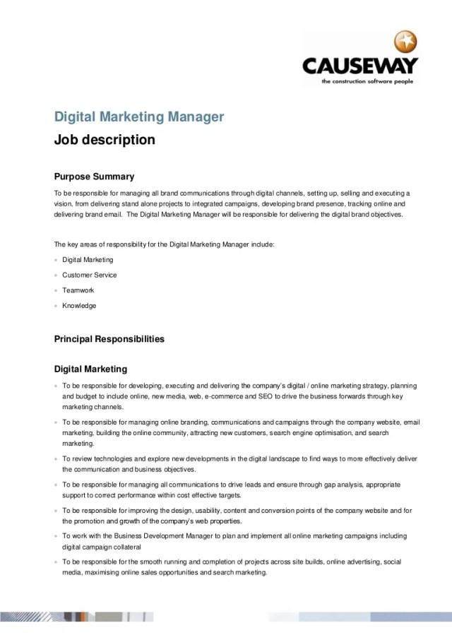 responsibilities of a digital marketer