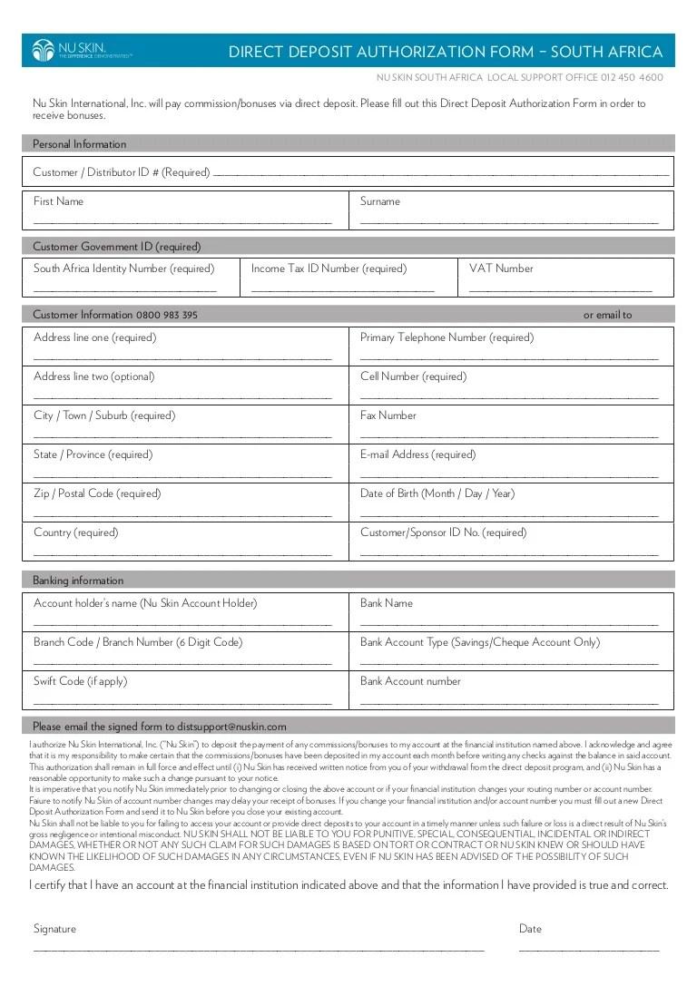Direct deposit form 2013