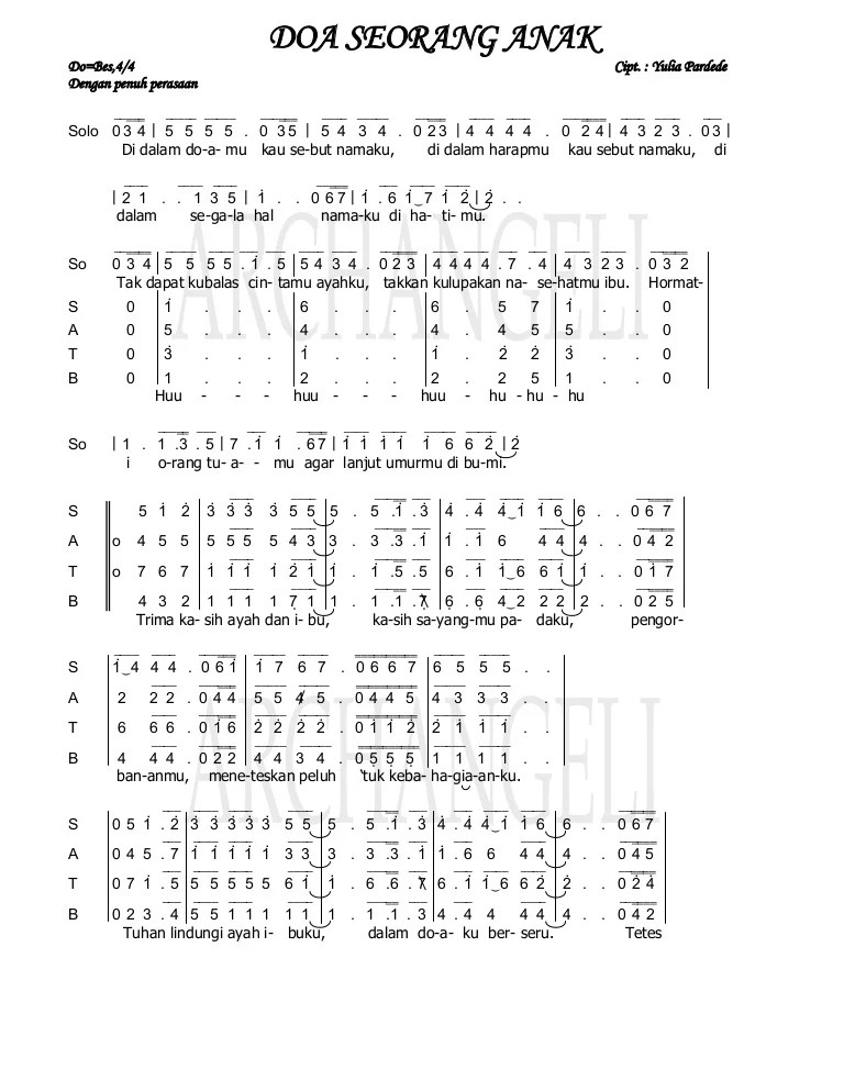 Download Lagu Rohani Doa Seorang Anak : download, rohani, seorang, Partitur, Seorang