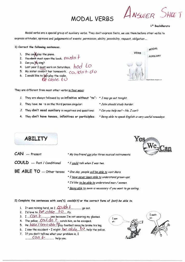 hight resolution of MODAL EXERCISES ANSWER KEY