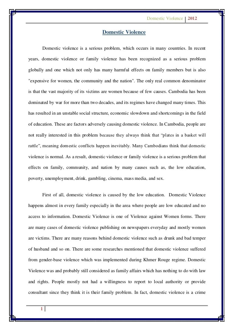 Essays On Violence Draft Essay On Domestic Violence Gun Violence