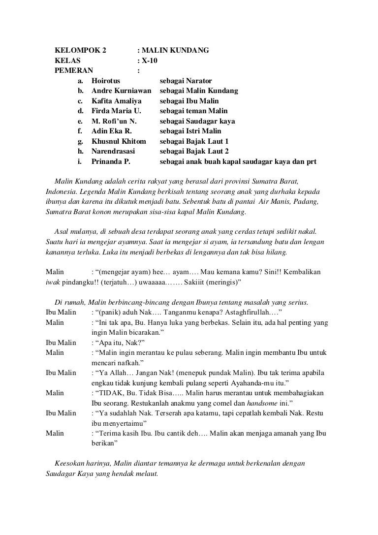 Teks Dialog Malin Kundang : dialog, malin, kundang, Drama, Malin, Kundang