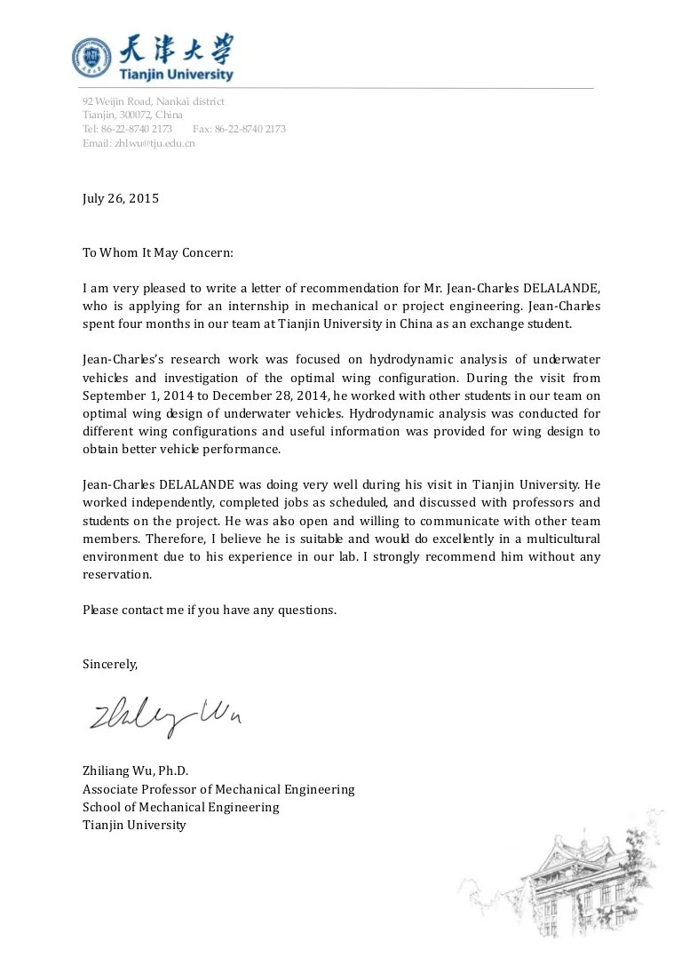 Recommendation letter from Zhiliang Wu  JeanCharles
