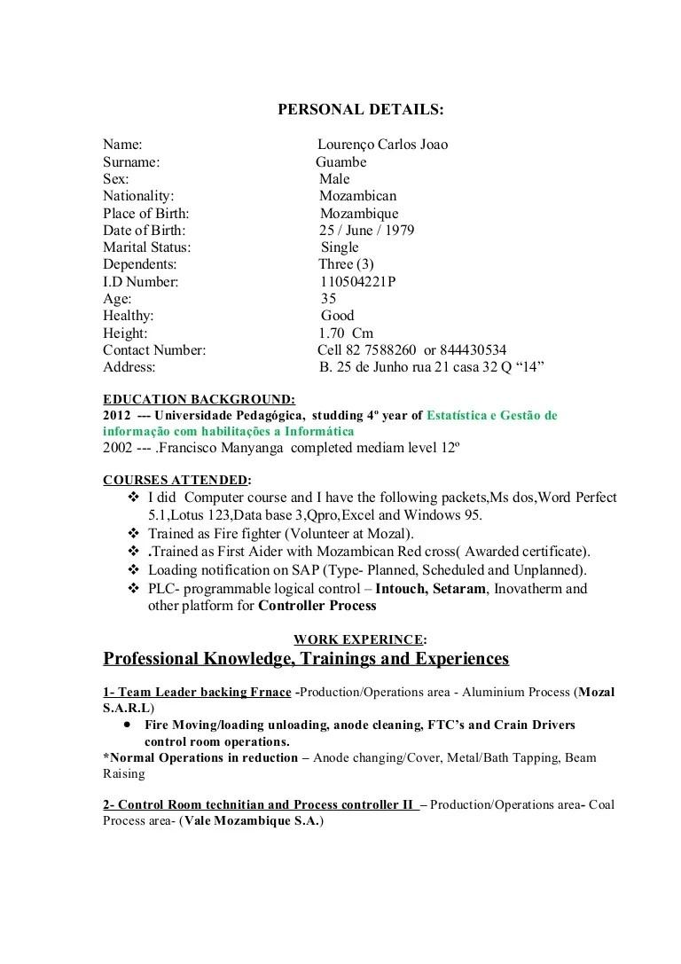 CV. in inglish