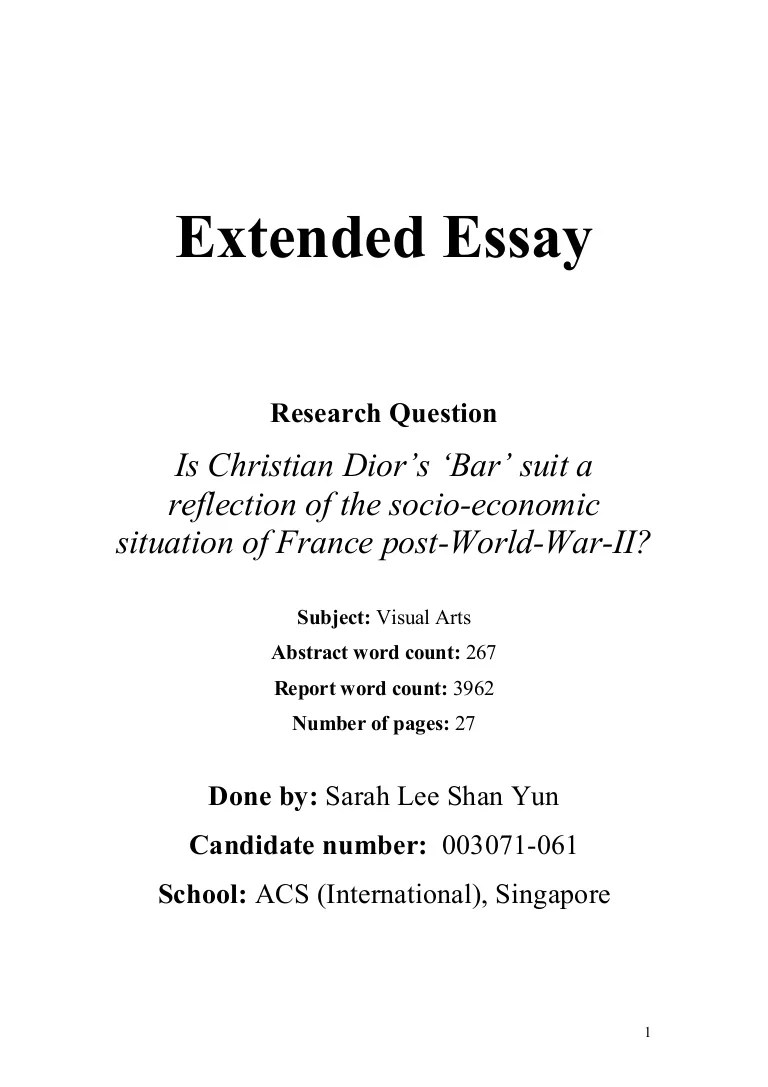 Essay Cover Page Sample