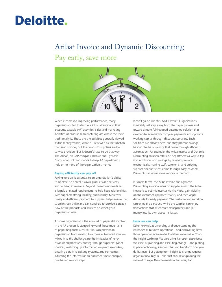 Ariba® Invoice and Dynamic Discounting - Pay early. save more_Sept2015