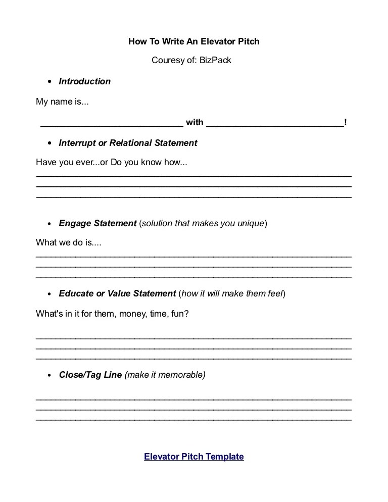 pitch document template
