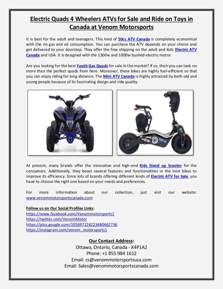 Adult Electric Quad Bike : adult, electric, Electric, Quads, Wheelers, Canada, At…