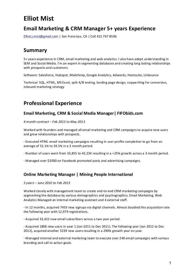 Email Marketing Resume Samples