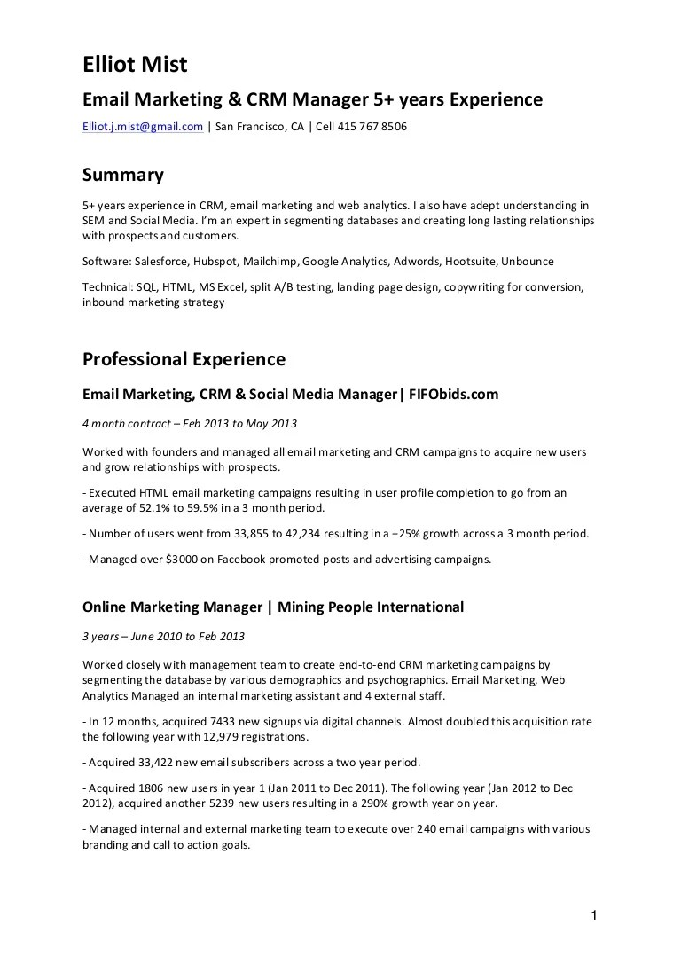 Experience In Marketing Resume Cv Email Marketing Crm