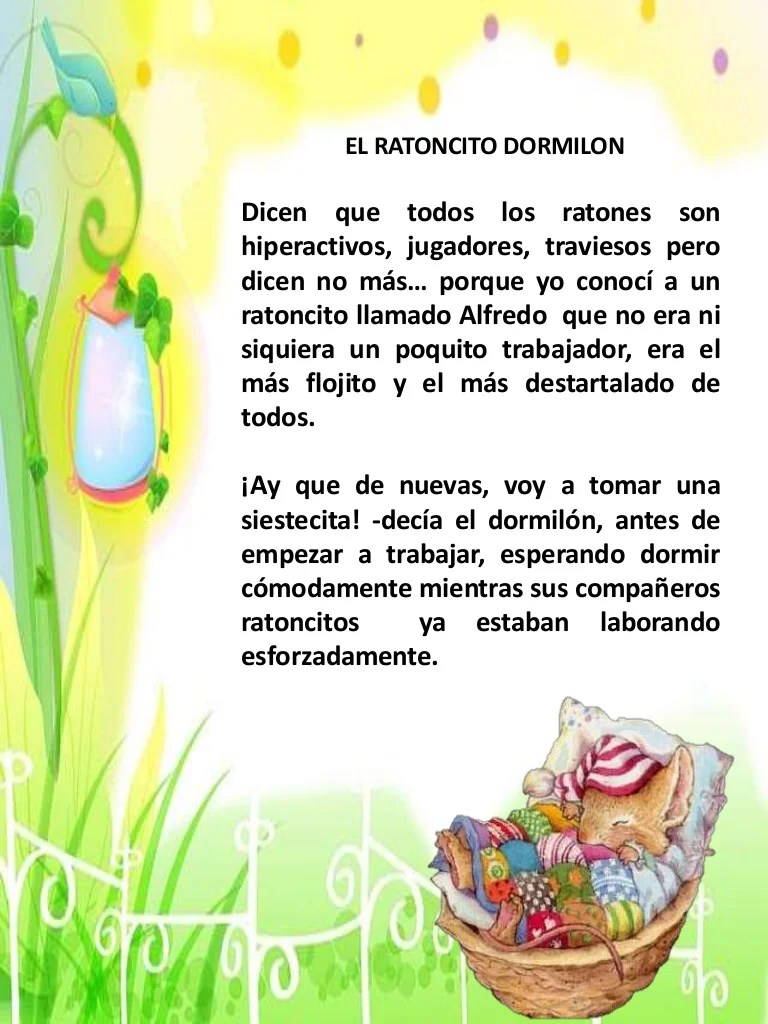 "Cuento Infantil ""el Ratoncito Dormilon"""