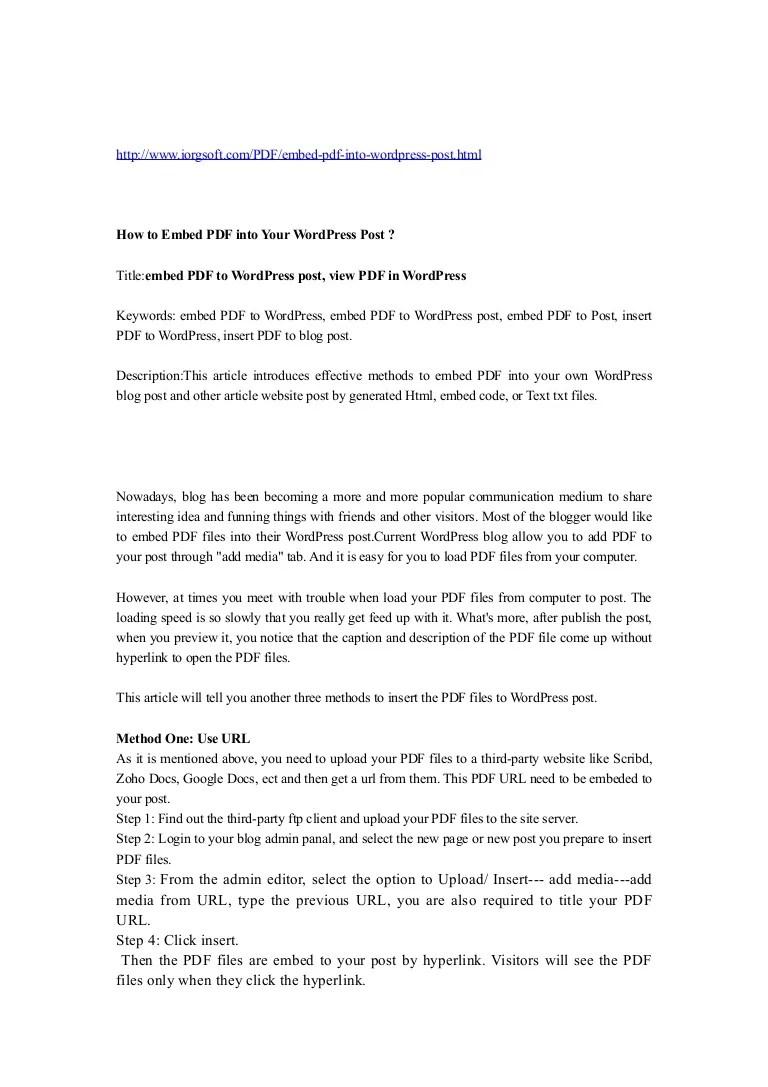 Wordpress Blog In Pdf
