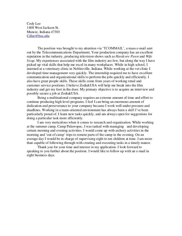 Application letter for vet nurse