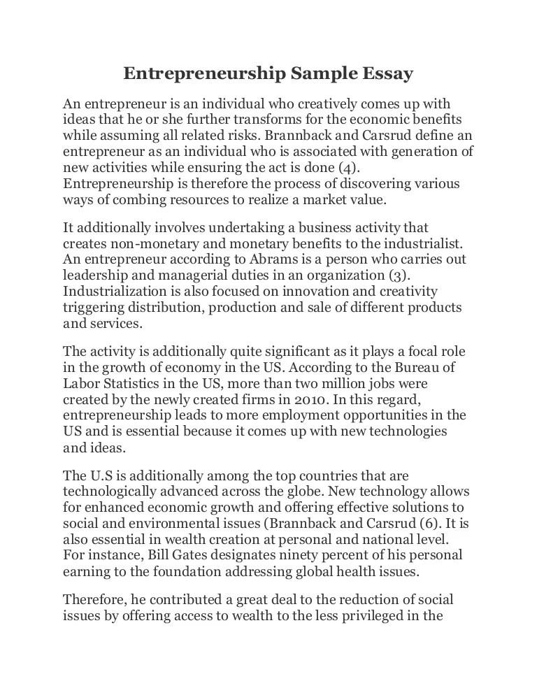 Entrepreneurship Sample Essay