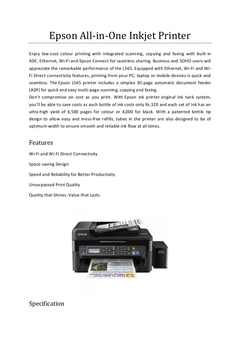 Download Epson Scan L565 : download, epson, Epson, In-one, Printer
