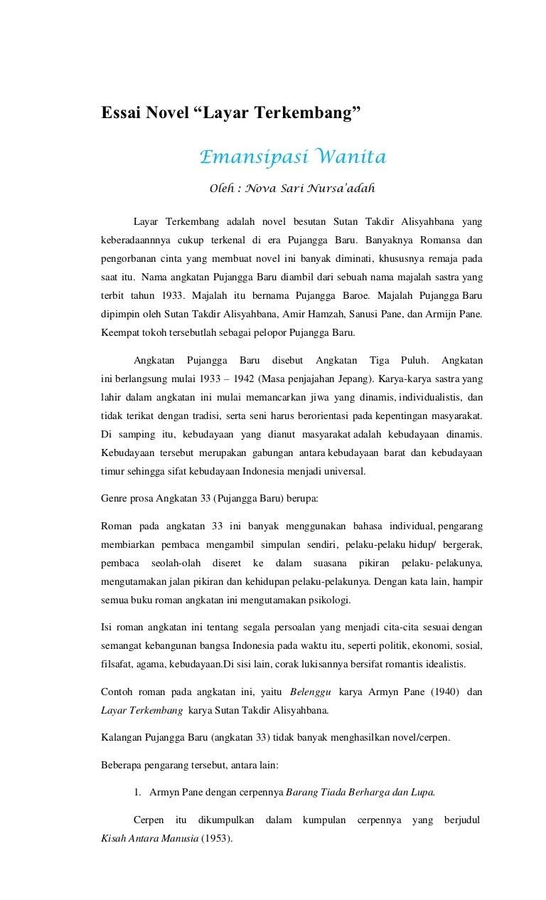 Contoh Esai Kritik Sosial : contoh, kritik, sosial, Novel, Layar, Terkembang