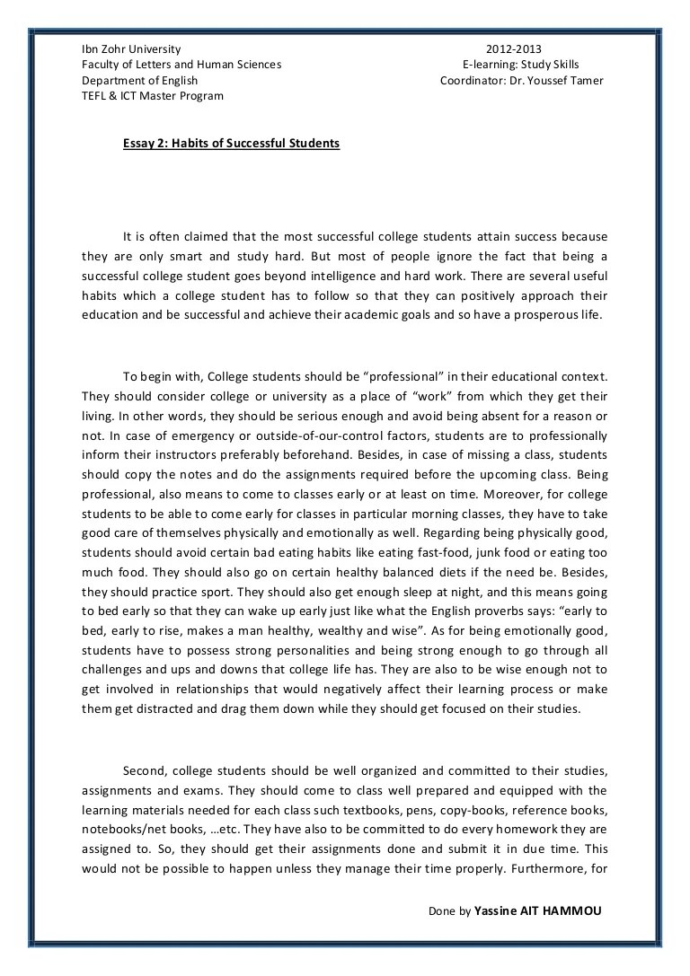 Compare And Contrast Essay Example For College Essay 2 Succesful College Students Habits By Yassine Ait Hammou