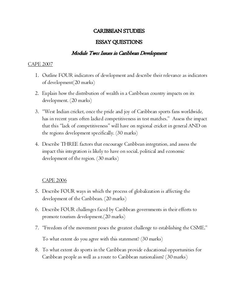 Essay Questions Caribbean Studies