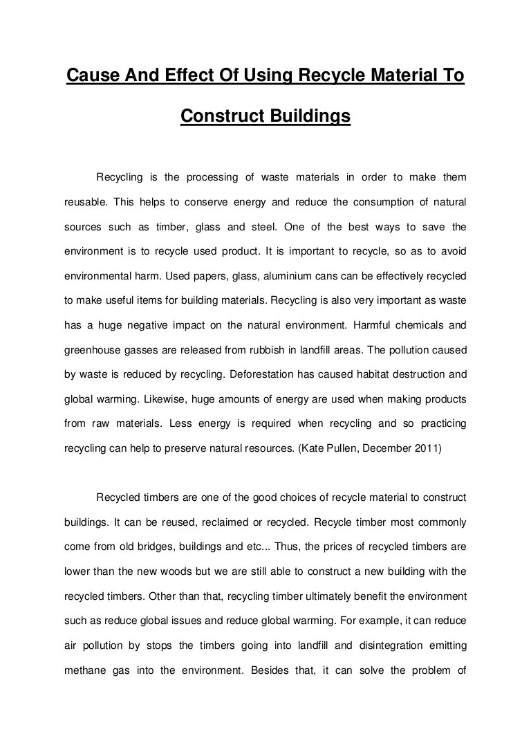 Essay Recycle Product To Construct Buildings