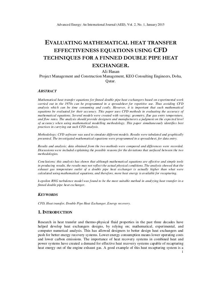 Evaluating mathematical heat transfer effectiveness equations using c…