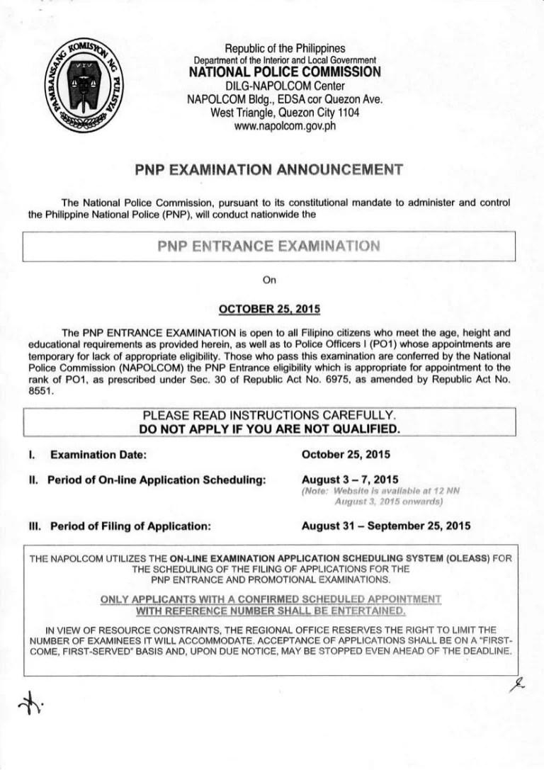 Napolcom Exam Announcement For October 2015