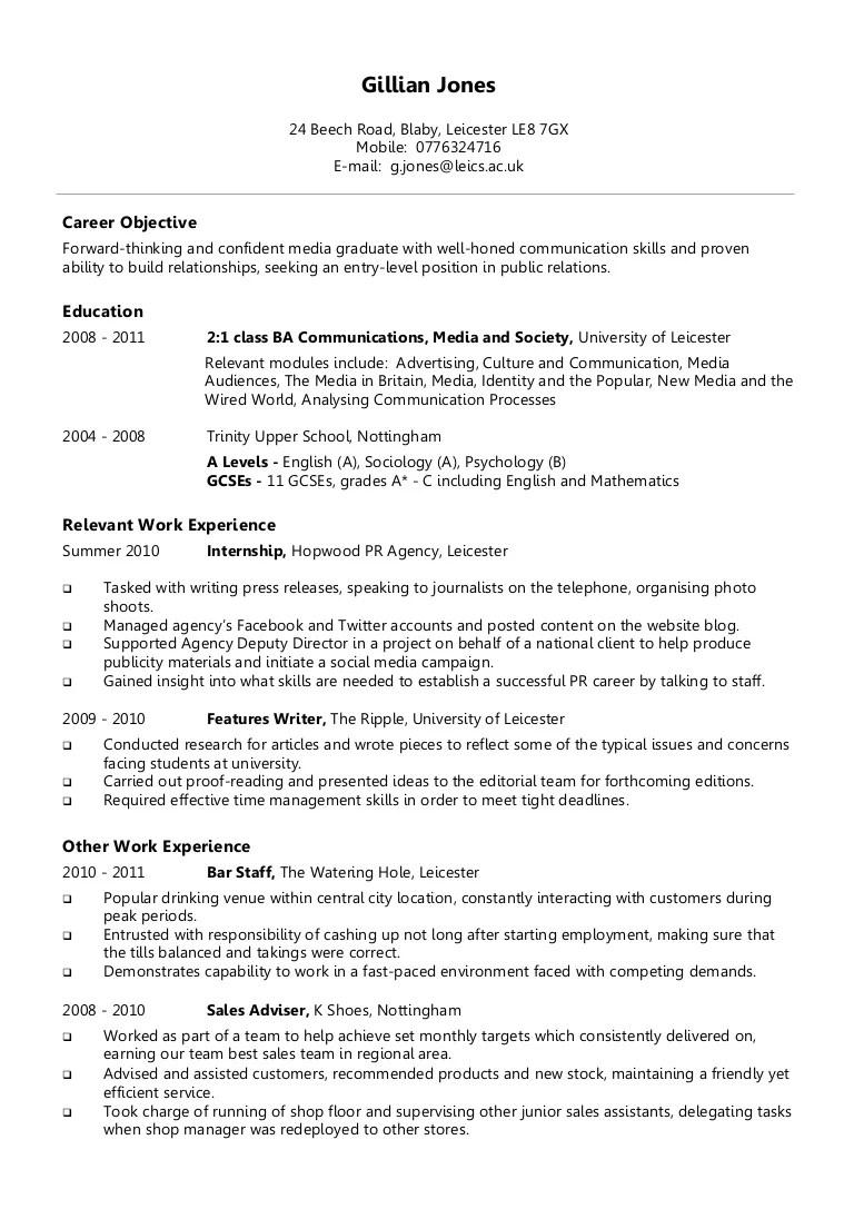 Example chronological CV