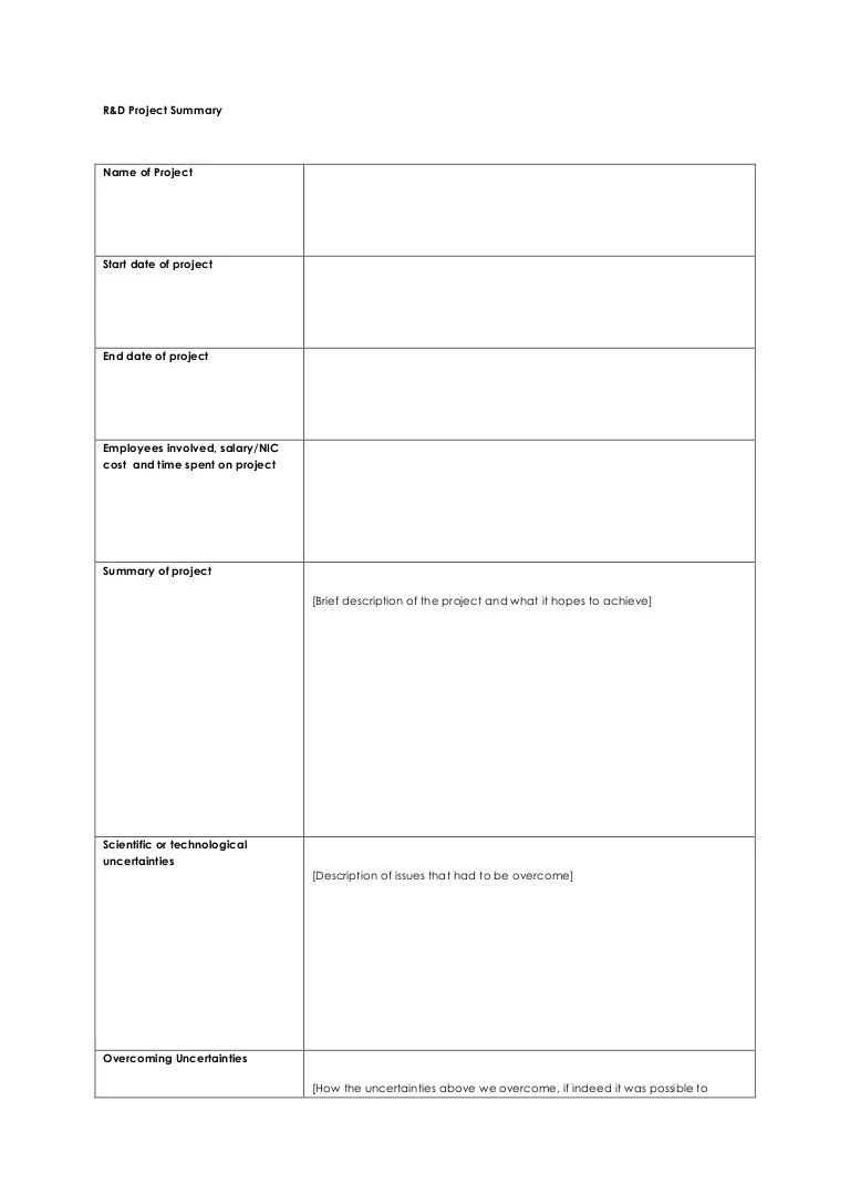 Example R&D Project Sheet
