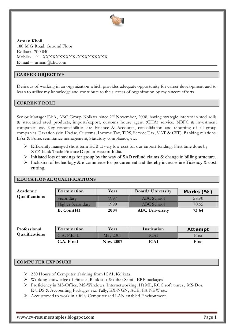 How To Format Experience On A Resume Excellent Work Experience Professional Chartered Accountant Resume Sa