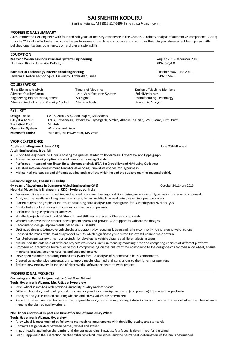 Experienced Cae FEA Engineer Resume