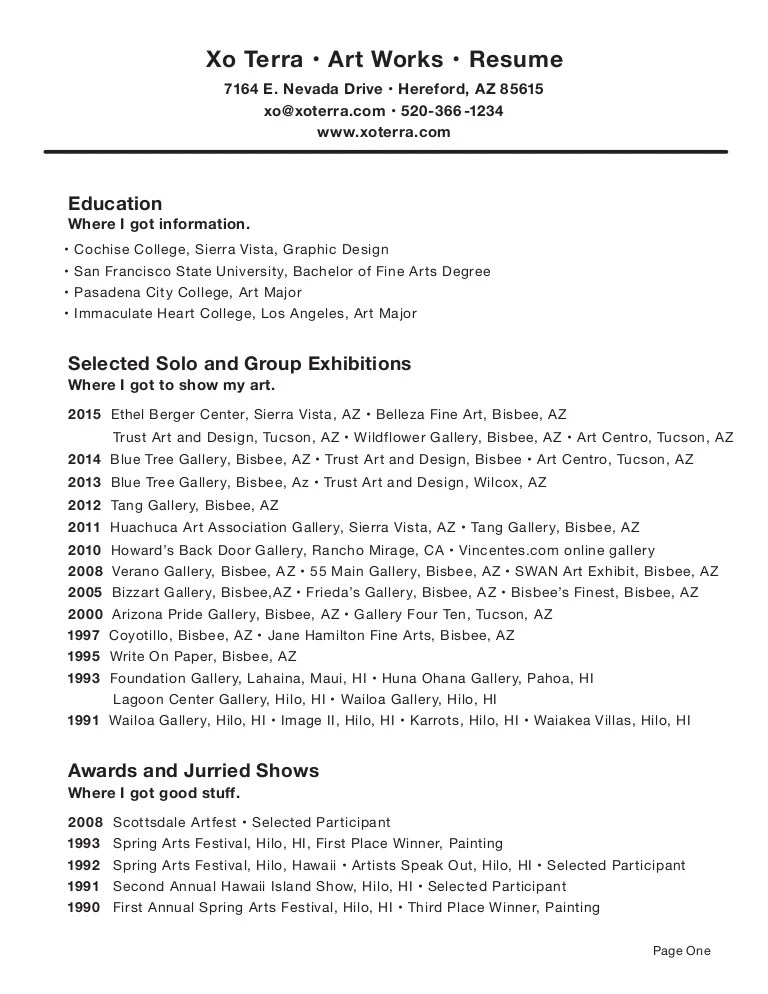sample of art resume