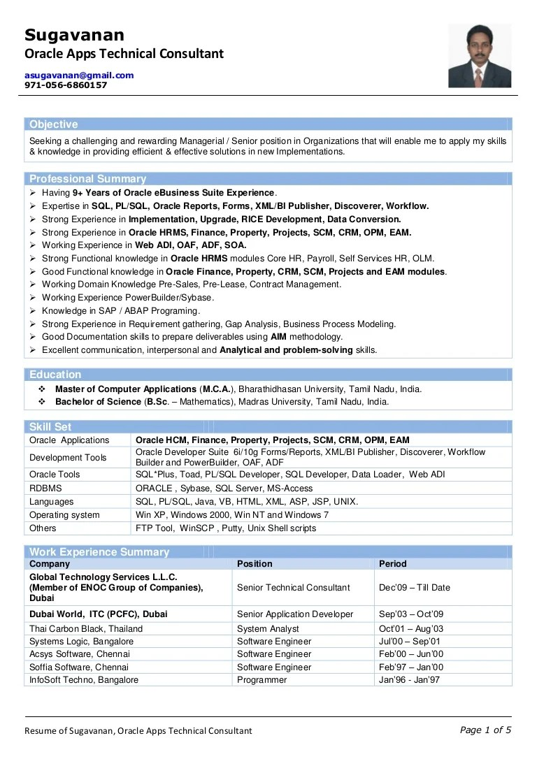 Oracle Apps Developer Cover Letter Resume Of Sugavanan Oracle Apps Technical Consultant