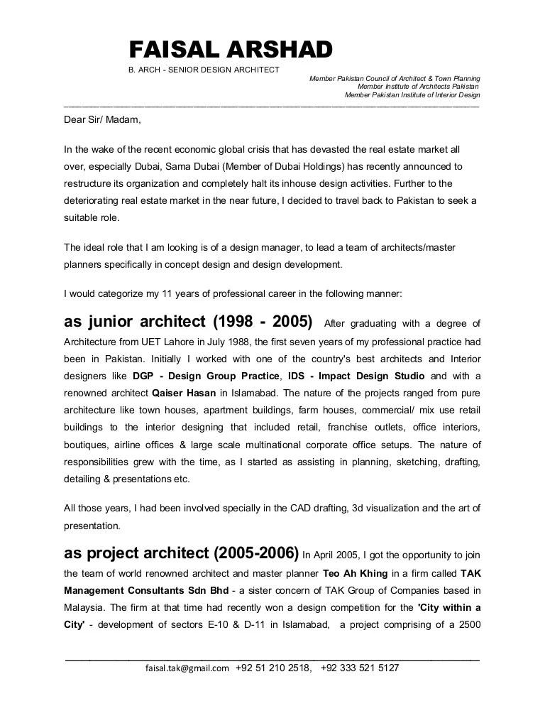 Faisal Arshad Cover Letter Jan 09fnl