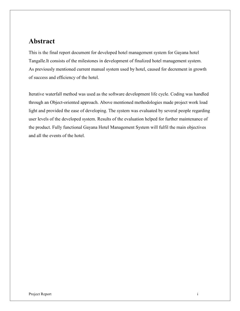 Hotel Management System Final Report
