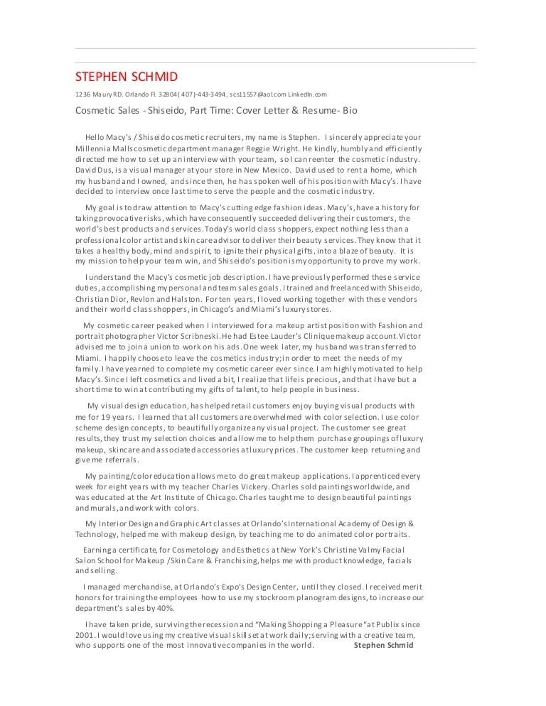Fl mall shiseido resume cover letter