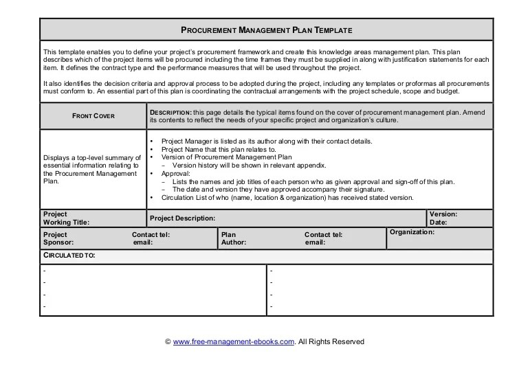 Fme Procurement Plan Template