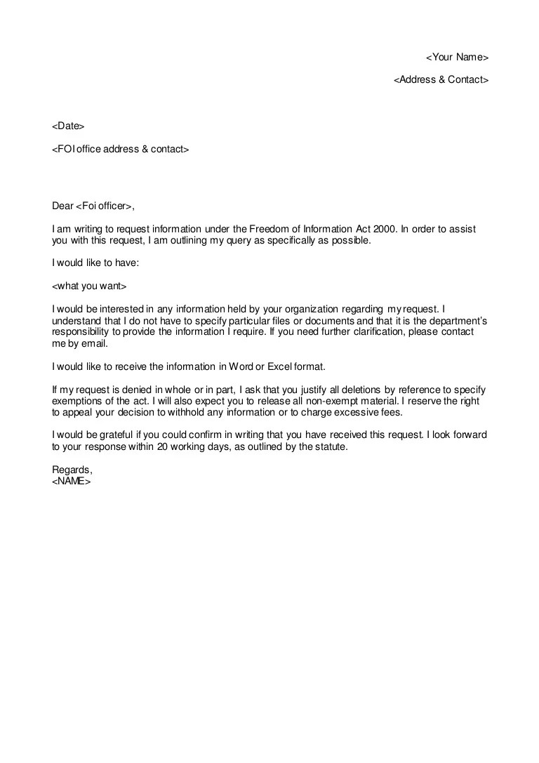 Freedom Of Information Request Letter Template