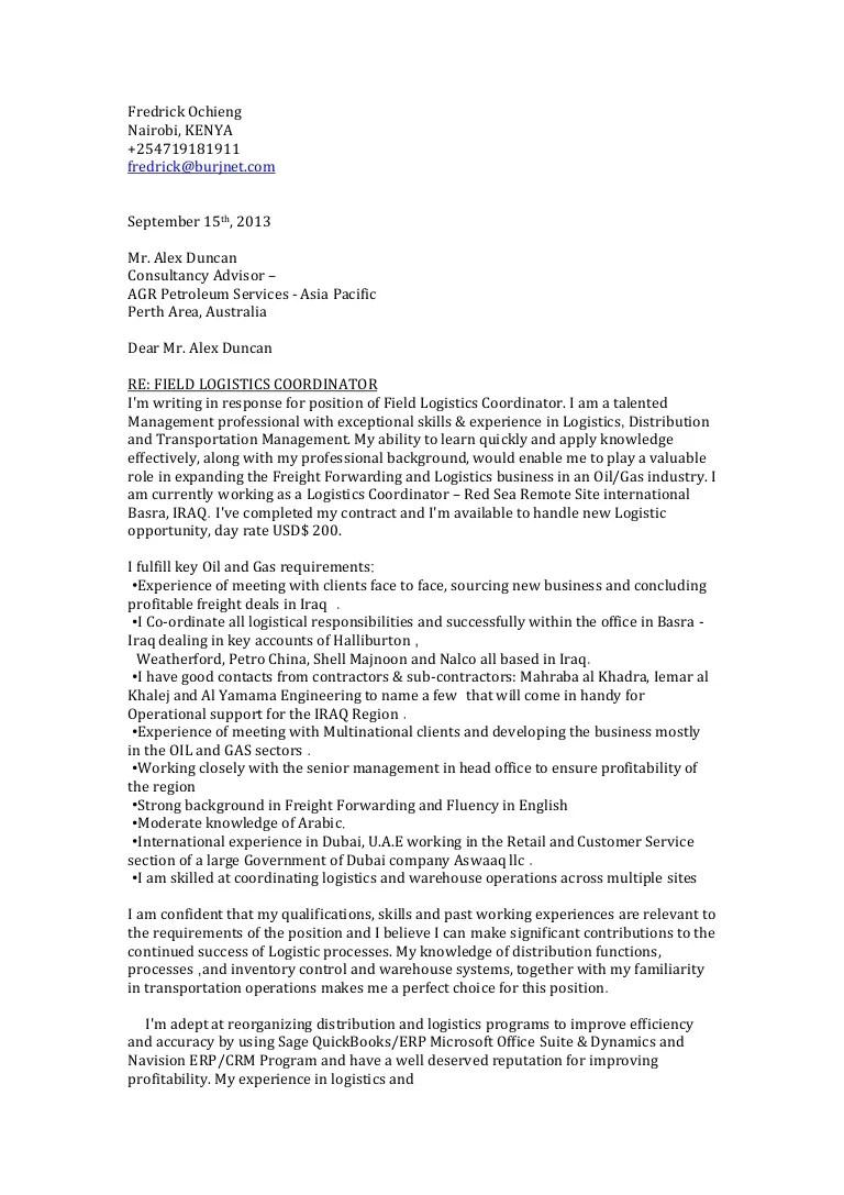 Fredrick Ochieng Cover Letter