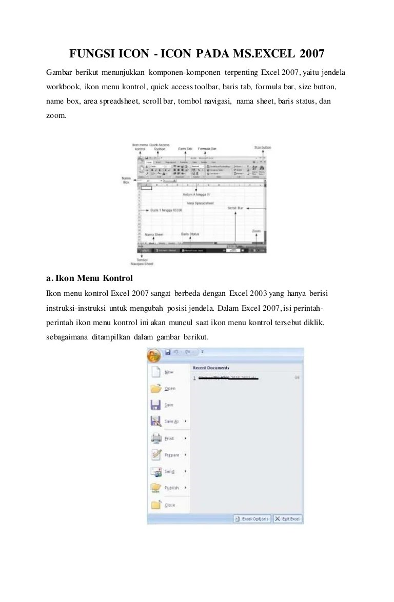 Fungsi menu dan icon pada microsoft excel 2007
