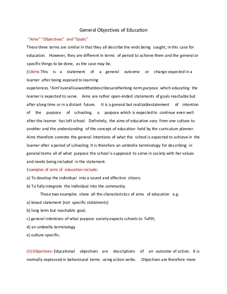 examples of educational objectives for resume
