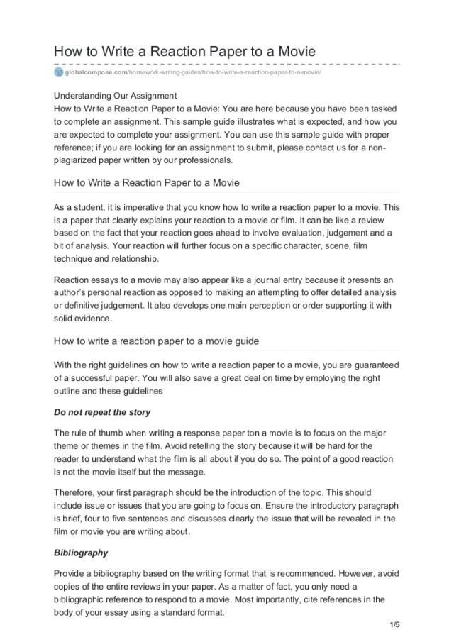 Globalcompose.com how to write a reaction paper to a movie