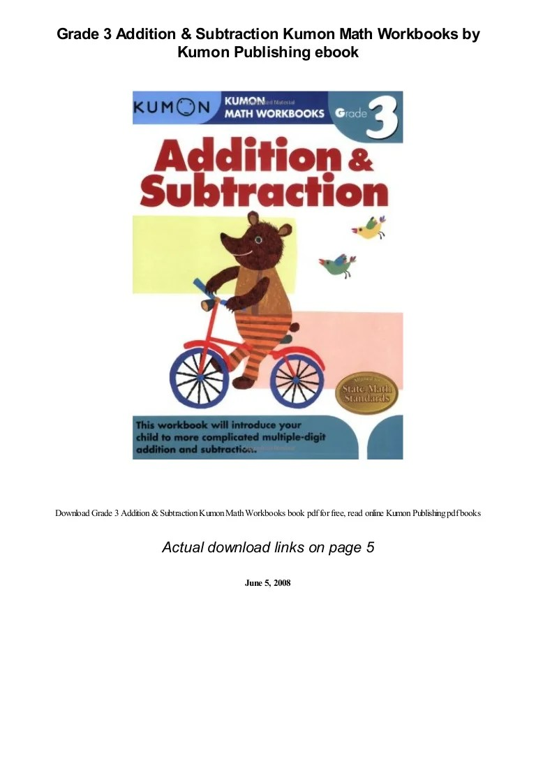 Grade 3 Addition \u0026 Subtraction Kumon Math Workbooks by Kumon Publishi… [ 1087 x 768 Pixel ]