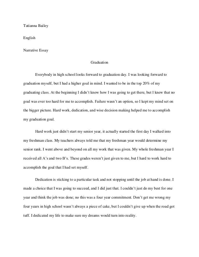Graduation narrative essay