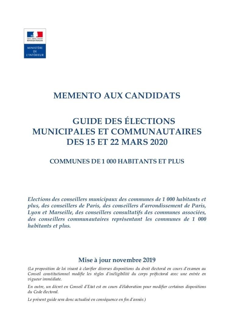 Municipales2020 Guide Pratique Pour Les Communes De 1000