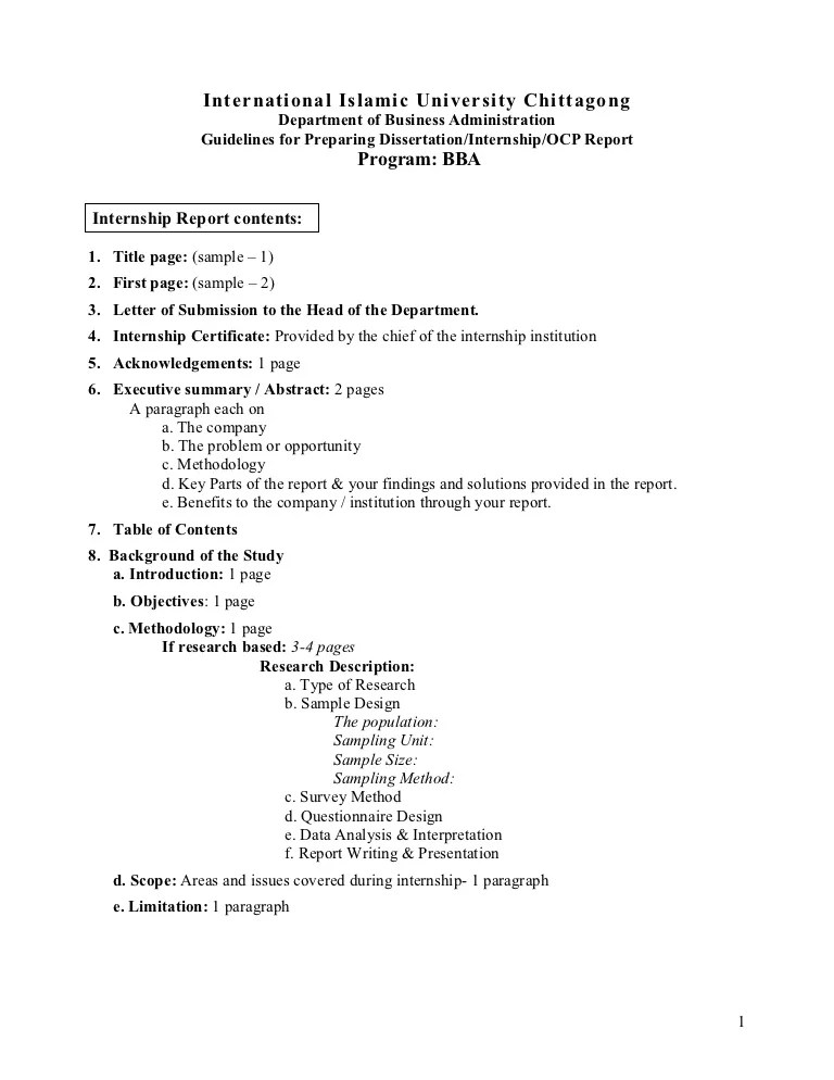 Guidelines For Preparing Internship Report