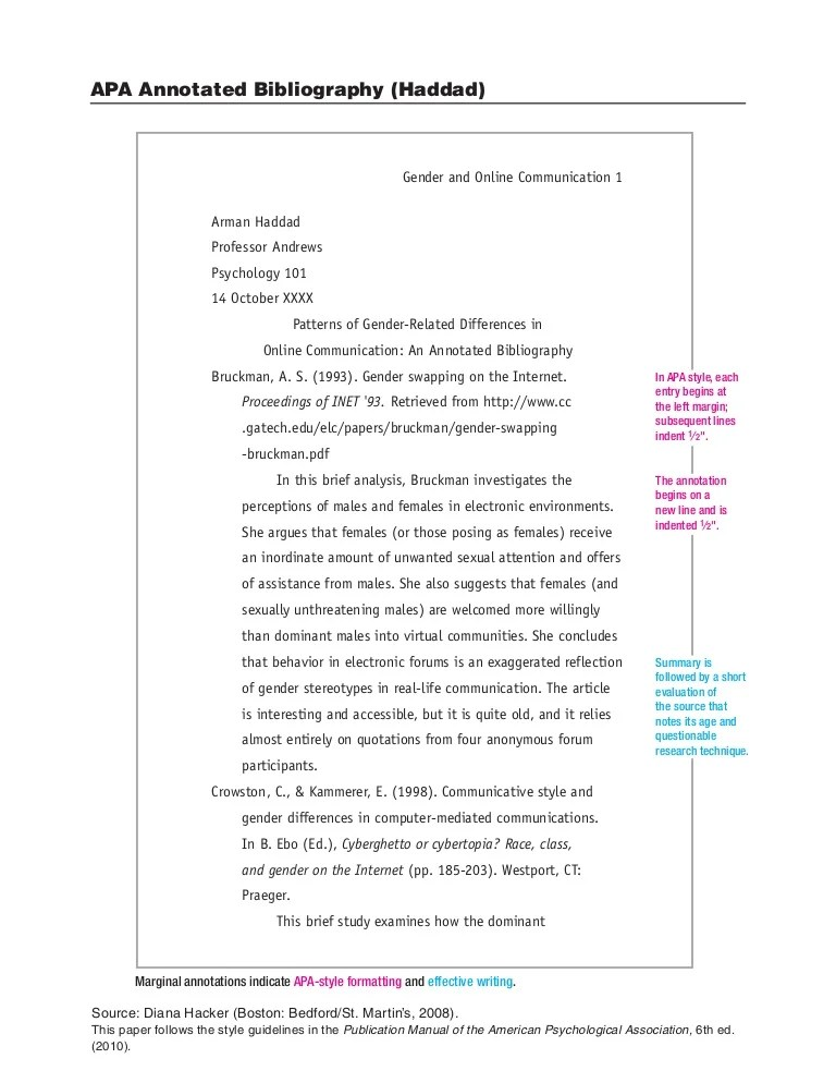 Diana Hacker Example APA Annotated Bibliography