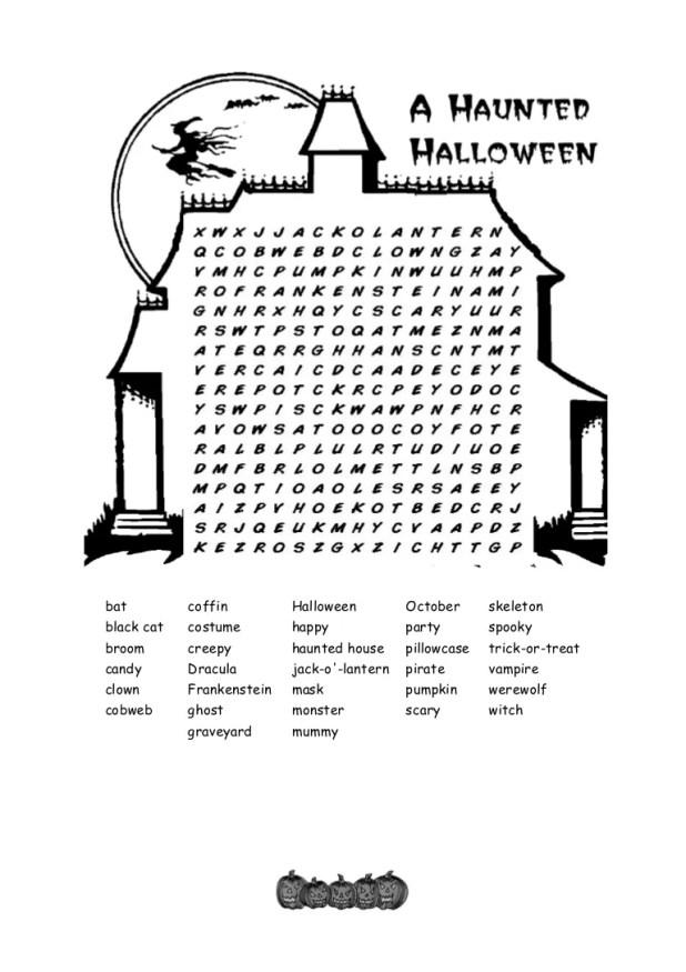 haunted halloween crossword key | Cartoonview.co