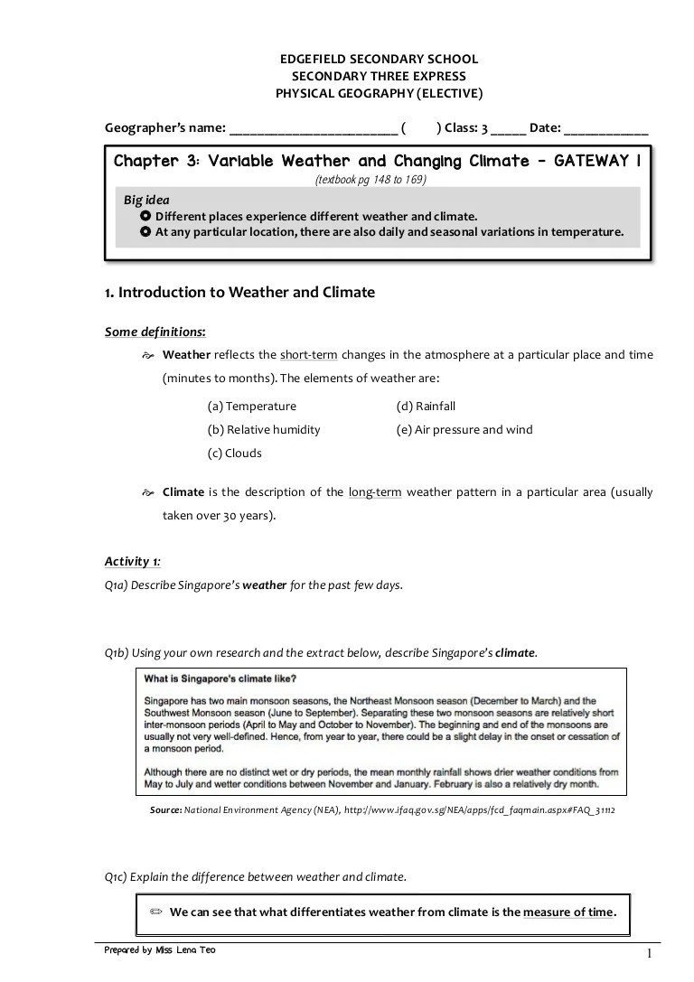 small resolution of S3 GE Handout 1 - Weather Climate GW1