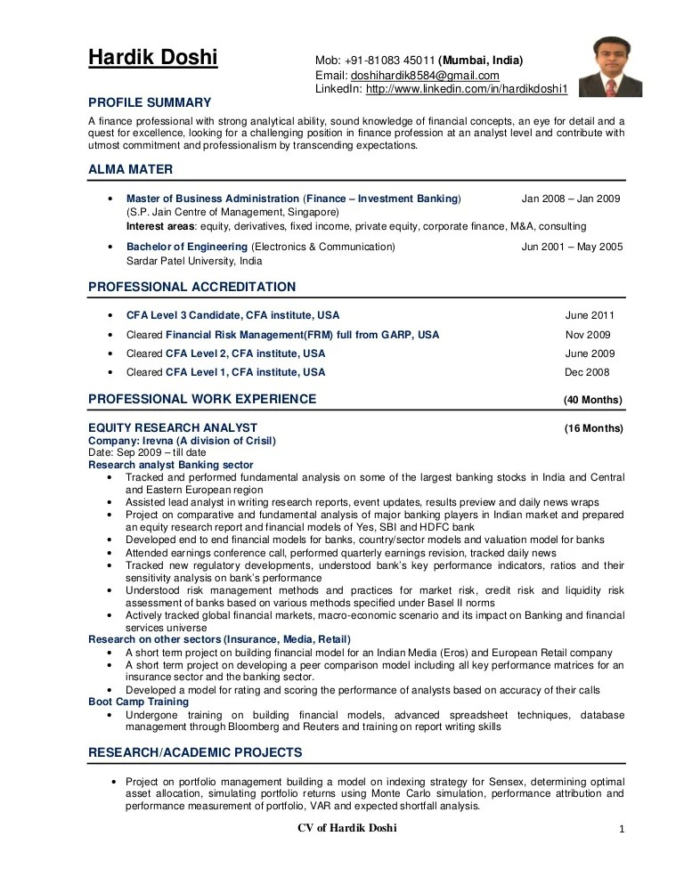 sample resume for experienced financial analyst