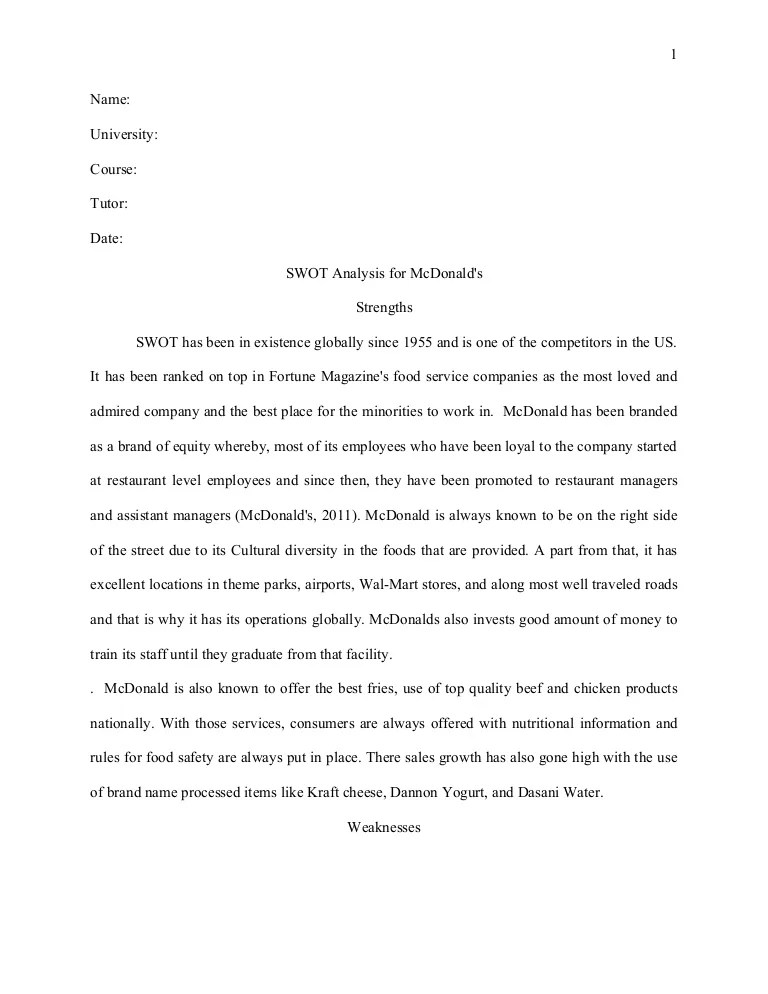 Swot Analysis Essay Harvard Style Essay Swot Analysis For Mc Donald